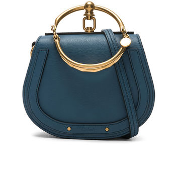 Chloe Small Nile Calfskin & Suede Bracelet Bag in Vinyl Blue | FWRD