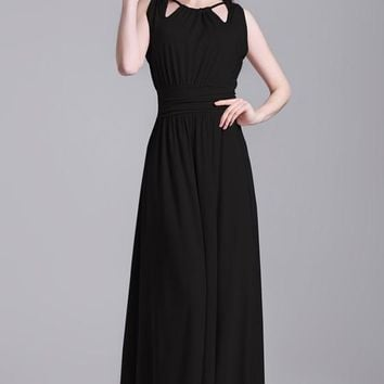 Black Plain Pleated Zipper Tie Back Halter Neck Elegant Maxi Dress
