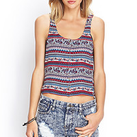 FOREVER 21 Striped Paisley Tank Cream/Blue