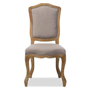 Baxton Studio Chateauneuf French Vintage Cottage Weathered Oak Beige Fabric Upholstered Dining Side Chair Set of 1