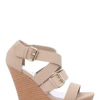 Open Toe Platform Wedge with Wood Heel and Buckled Straps
