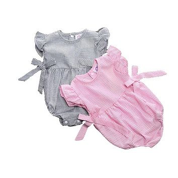 New girl pink striped bow design jumpsuit summer cotton overalls cute beautiful girls clothes children clothing