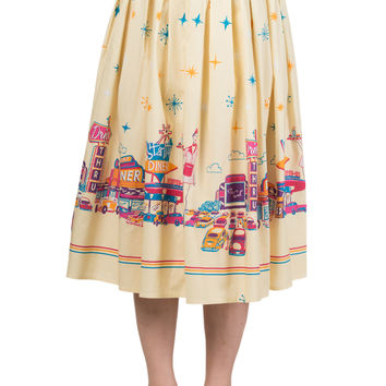 60's Retro Star City Vintage Cinema Art Pleated midi skirt