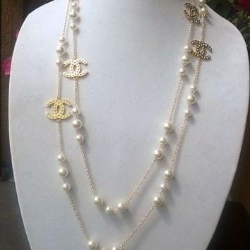 "Classic 65"" Designer Pearl & Crystal Charm Opera Necklace"