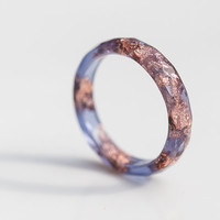 Blue Resin Stacking Ring Rose Gold Flakes Thin Faceted Ring OOAK boho minimalist jewelry blue jean periwinkle blue