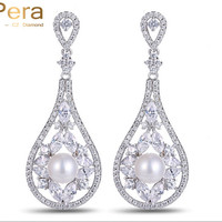 Sparkling Cubic Zirconia Diamond Paved The Flower Vase Shape Round Pearl Drop Long Wedding Earrings Jewelry For Bridal E063