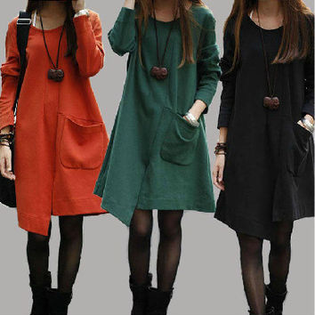 Winter Korean Women's Fashion Split Irregular Long Sleeve One Piece Dress [4919720772]