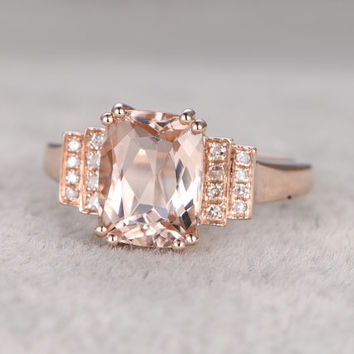 8x10mm Morganite Engagement ring Rose gold,Diamond wedding band,14k,Cushion Cut,Gemstone Promise Bridal Ring,8-Prongs,Pave Set,Handmade