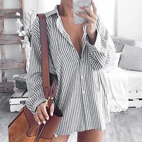 Stripe Oversize Streetwear Women Blouse Shirts Loose Femme Plus Size Blouse Tops Blusa Mujer