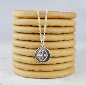 Personalised Rich Tea Biscuit Charm Necklace