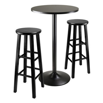 "3 Piece Round Black Pub Table with 2 29"" Wood Stool Square Legs"