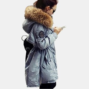 Winter Women Warm High Quality Real Fur Military Down Cotton Women Jacket Hooded Thickening Parka Fashion Women Coat TT3222
