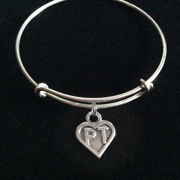 PT ~ Physical Therapist Silver Charm Bracelet Expandable Adjustable Silver Wire Bangle Medical Personal Trainer