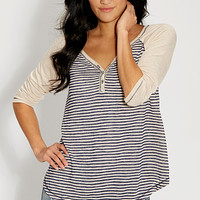 knit baseball henley with stripes