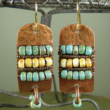 Wire Wrapped Copper Beaded Earrings, Czech Picasso Beads, Rustic, Ethnic, Tribal, Matte Sea foam, Canary Yellow, Native, Enola, Boho Jewelry