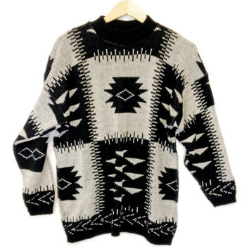 Vintage 80s Black & White Aztec Tribal Cosby Sweater - The Ugly Sweater Shop