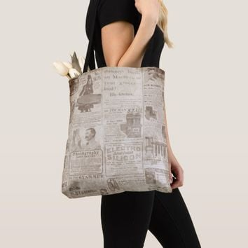 News Vintage Style All-Over-Print Tote Bag