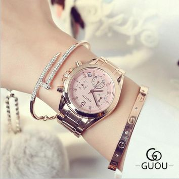 GUOU Women's Watches Luxury Diamond Wrist Watch Auto Date Rose Gold Watch Women Watches Clock bayan kol saati relogio feminino