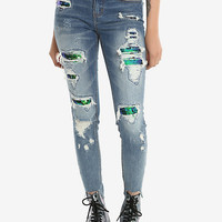 Sequin Destroyed Skinny Jeans