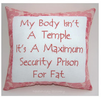 Funny Cross Stitch Pillow, Cross Stitch Quote, Salmon Pink Pillow, Fat Quote