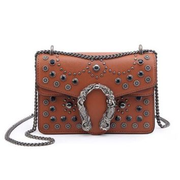 Kalete GUCCI Fashion Women New Retro Metal Chain Small Square Bag Rivet Bag Shoulder Bag Crossbody Satchel Shoulder Bag Caramel Color