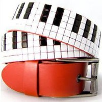 ROCKWORLDEAST - Studded Belts, Piano Key Studded Belt, Red Leather