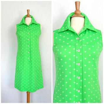 1970s Green Dress / lacoste dress / 70s polka dot dress / shirtwaist dress / David Cry