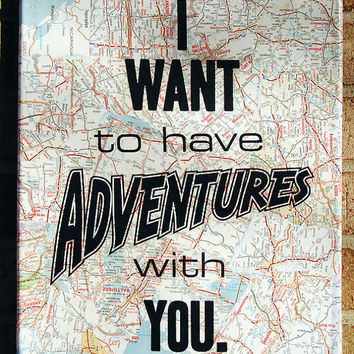 Vintage Map Art Quote on Canvas I want to have Adventures by Stoic