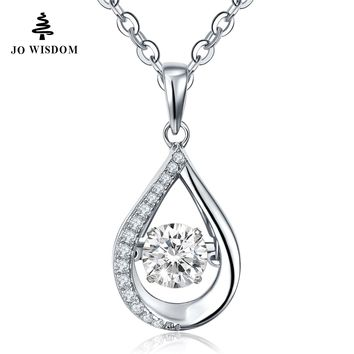 100% 925 Sterling Silver Pendant Necklace with Dancing Natural Stone Natural Topaz for Women