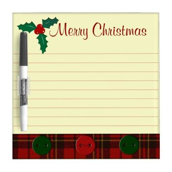 Customize Adorable Christmas tartan and Holly twig Dry Erase Board by PLdesign