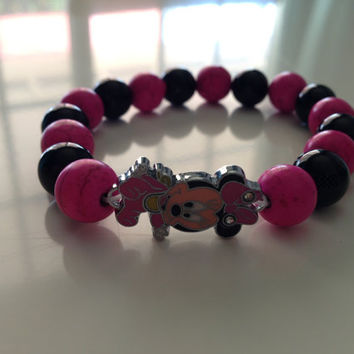 Baby Minnie Mouse Beaded Stretchy Bracelet by PenelopesBox on Etsy