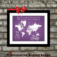 Custom Bike Bicycle Print: Gift For Bestfriend Sister Long Distance Relationship, Parents Family Couple Quotes Hearts Gifts Under 25