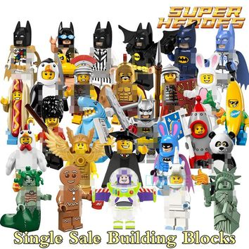 1pc Building Blocks Super Heroes Bricks Gingerbread Man Orca Shark Batman Movie Penguin Boy DIY Kids Toys Children Model Gift