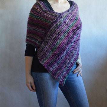 Loose Knit purple & emerald poncho, Loose Knit Wrap, Hand knitted Poncho, Women Cover up, Fashion Accessory, comfy wrap