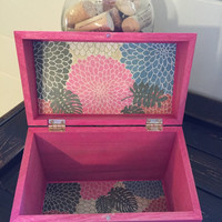 Pink Recipe Box with Floral Lining