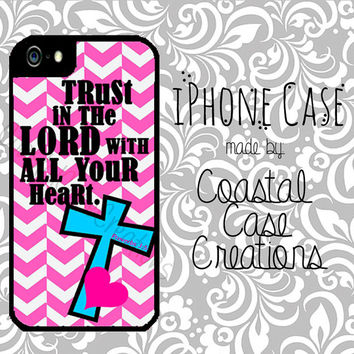 Pink Chevron and Turquoise Cross Bible Verse Apple iPhone 4 4G 4S 5G Hard Plastic Cell Phone Case Cover Original Trendy Stylish Design