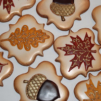 Elegant Autumn / Fall leaves  Thanksgiving Cookies - One Dozen Decorated Sugar Cookies