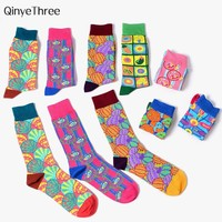 New Tide Men women's Happy Socks Funny Poppy psychedelic illustration series sokken Color pop art style Couples Hip Hop Punk sox