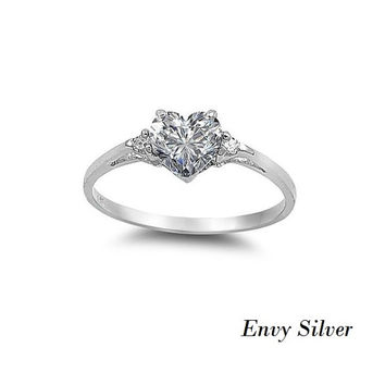 Sterling Silver Heart Simulated Clear CZ Promise Ring