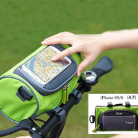 Travel Waterproof Bicycle Handlebar Cycling Pannier Bike Bag with Mobile Phone Screen Touch Pouch 4.7 inch