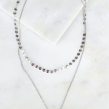 Layered Necklace Pearl Silver