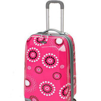 """Rockland Luggage 20"""" CarryOn Hardcase Spinner Suitcase Vision TSA Pink Pearl"""