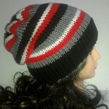 Mens Knit Striped Beanie Hat in Gray, White,Black and Red, Mens Accessories, Mans Hat