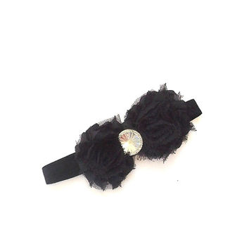 Black  Headband, shabby flowers with rhinestone center on a stretch headband, babies, girl's, women's,
