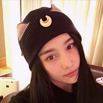 Sports Hat Cap trendy  Pretty Soldier Sailor Moon Cosplay Elegant Women Knitted Hats Luna cat ear Elegant Women Knitted Hats Outdoor Ski Sports Cap KO_16_1