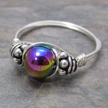Magnetic Rainbow Hematite Bali Sterling Silver Wire Wrapped Bead Ring ANY size