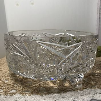 #0062 Clear Crystal footed bowl cut glass Vintage