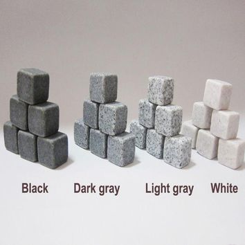 DCCKL72 (6pc/9pc Set) 100% Natural Whiskey Stones Sipping Ice Cube Whisky Stone Whisky Rock Cooler Wedding Gift Favor Christmas Bar