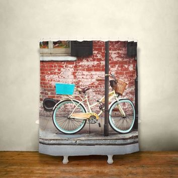 French Quarter Bicycle Shower Curtain