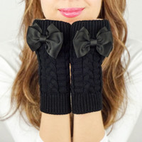 Black Fingerless Mittens knit gloves black grosgrain bow gloves knitted bow knit fingerless gloves black arm warmers black gloves for women